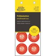 Kontrolne etikete z letnico, Ø 30 mm, rdeče