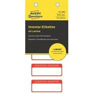 Etikete za označevanje inventarja, z zaščitno folijo 50 x 20 mm rdeča