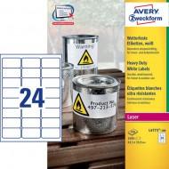 Avery Zweckform L4773-100 Zelo odporne poliesterske etikete, 63.5 x 33.9 mm