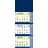 Stenski tridelni koledar s špiralo 2019, moder
