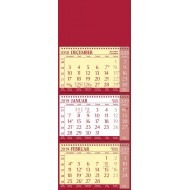 Tridelni koledar s špiralo 2019, rdeč