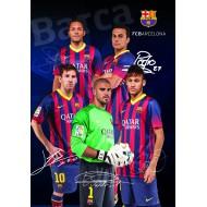Zvezek z mehkimi platnicami A5 mali karo, FC Barcelona