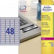 Etikete za označevanje, srebrne 45,7 x 21,2 mm - L6009-20