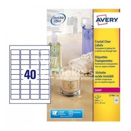 Etikete za označevanje, prozorne 45,7 x 25,4 mm - L7781-25