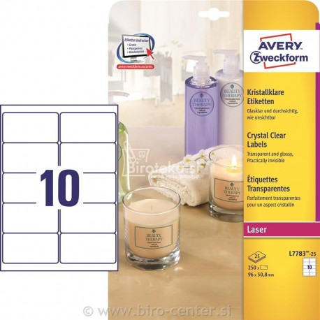 Etikete za označevanje, prozorne 96 x 50,8 mm - L7783-25